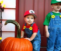 these are my two little Mario Brothers all dressed up for Halloween and little Mario's first Birthday party!
