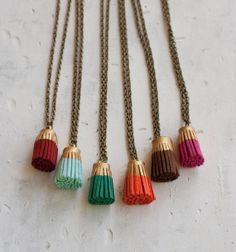 Gold Leather Tassel Necklaces by JillMakes on Etsy, $15.00