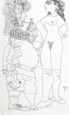 Pablo Picasso, Potbellied Sailor Smoking Pipe and Nude in Leggings, 1968; 45/50