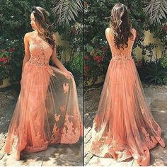Coral Prom Dress,Charming Party Dress, Lace Prom Dresses,Long