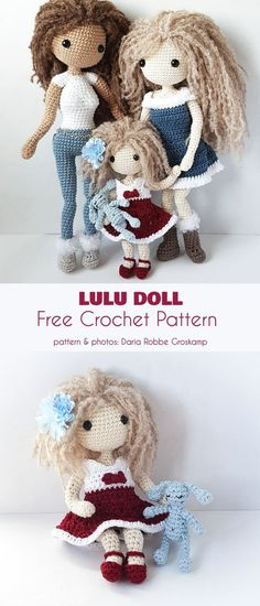 Lulu Doll Free Crochet Pattern The Fortune's Shawlette is a project for those of us who just love lacy, loosely stitched shoulder throws and shawls. The corner-to-corner stitch that forms Amigurumi Giraffe, Doll Amigurumi Free Pattern, Crochet Dolls Free Patterns, Diy Crochet Doll, Crochet Doll Tutorial, Little Doll, Knitted Dolls, Stuffed Toys Patterns, Softies