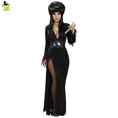 Women's Gothic Vampire Witch Elvira Costume Black Sexy Halloween Themed Fancy Dress Outfits Costumes