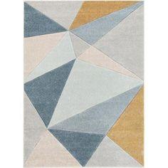 Ruby Tamara Blue Mid-Century Modern Geometric 5 ft. 3 in. x 7 ft. 3 in. Area Rug Mid Century Modern Rugs, Mid Century Rug, Affordable Area Rugs, 3d Texture, Yellow Area Rugs, Geometric Rug, Geometric Designs, Modern Carpet, Grey Carpet