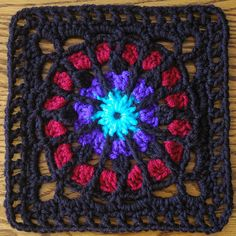 Ravelry Fox's Stained Glass 7x7 Square  by Donna Mason-Svara $2.25