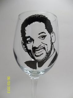 Will Smith Hand painted wine glasses painted wine by RealGlassAct, $24.00
