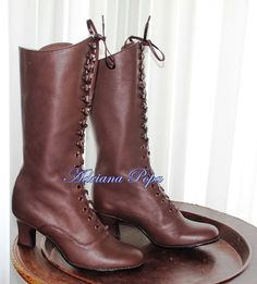 Victorian Boots in Brown Leather Victorian Style by VictorianBoots