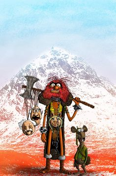 Artist Mark Chilcott transports the Muppets to the 2000 AD universe in a series of illustrations that cast Statler as Judge Dredd, Miss Piggy as his Pig Division colleague, Animal as Sláine, and Rowlf as Strontium Dog star Johnny Alpha. Jim Henson, Evil Cartoon Characters, Animal Muppet, Warrior Images, Celtic Warriors, Arte Horror, Illustrations, Pictures To Paint, A Comics
