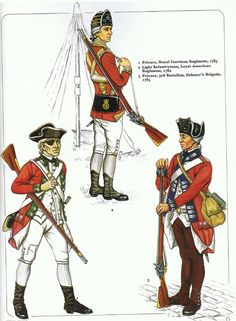 British; Loyalist Infantry L to R Privat, Royal Garrison Regiment 1783, Light Infantryman, Loyal American regiment 1782 & Private 3rd Battalion Delancy's Brigade 1783  from an early Osprey Men at Arms (originally published possibly in 1980)