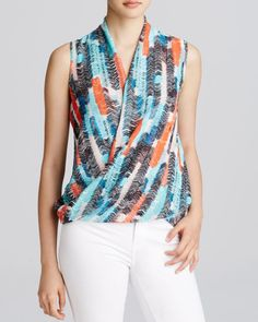 Kut from the Kloth Amelie Feather-Print Draped Top