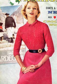 1950's Elegant Red Crochet Sweater Pattern door PearlShoreCat