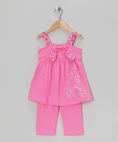 Take a look at this Pink Giraffe Tunic & Capri Leggings - Toddler & Girls by G Relations on #zulily today!