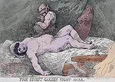 Gravure à l'eau-forte colorée représentant l'homme politique britannique Charles James Fox sous la forme d'un démon assis sur la poitrine d'une femme nue, endormie renversée sur sa couche. La scène parodie celle de la toile de Füssli, mais inversée, jusque et y compris la présence du cheval fantomatique qui passe sa tête à travers le rideau qui forme l'arrière-plan.