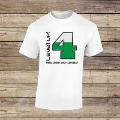 Level Up Fourth Birthday Shirt