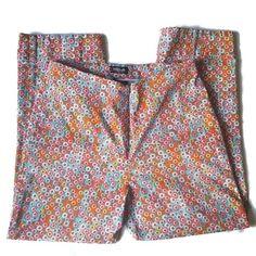Willi Smith Womens Cropped Capri Pants Size 10 Stretch Blue Orange Dots Cuffed #WilliSmith #CaprisCropped