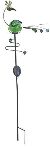 """Continental Art Center CAC2607840B Solar Peacock Garden Stake with A Crazed Glass Ball, 39-Inch by Continental. $24.74. Rechargeable Batteries are Included. Color: Green. Size: 39""""x12""""x4"""". 39"""" Tall Crazed Glass Ball Solar Peacock Garden Stake. Powder Coated Metal Details. Excellent For Outdoor Display. LED Light Glows in the Dark Through A Green Crazed Glass Ball.. Save 37%!"""