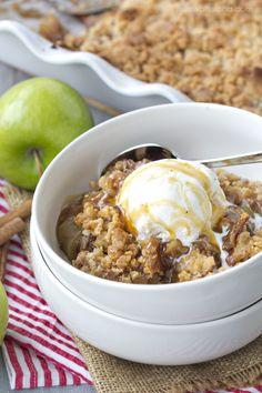 Snickerdoodle Apple Cobbler with Ice Cream and Caramel Sauce
