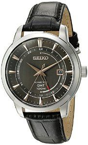 Seiko Men's 'Kinetic' Quartz Stainless Steel and Black Leather Dress Watch