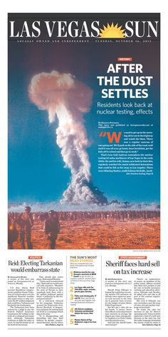 Stunning front page on history of nuclear tests from the Las Vegas Sun
