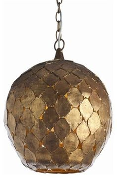 Osgood Pendant - Masins Furniture manufactured by Arteriors. Love the shape and organic shape of this golden pendant light.
