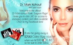 Dr Mark Kohout #PlasticSurgeon is giving away a $200 #ColesMyer #voucher! Enter the drawer today; https://www.facebook.com/DrMarkKohoutPlasticSurgeon/app_361416937266092