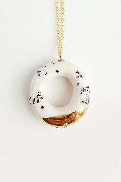 Milky Donut with Poppy Seeds and Gold Glaze - handmade ceramic jewellery desert Ceramic Pendant, Ceramic Jewelry, Concrete Jewelry, Diana Vreeland, Gifts For Mum, Necklace Designs, Cool Gifts, Sterling Silver Chains, Bridal Jewelry