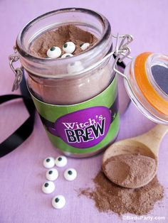Make Your Own Witch's Brew aka Pumpkin Spice Hot Cocoa Mix by Bird's Party #halloween #pumpkin #peeps #crafts #DIY