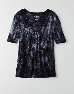 AEO Soft & Sexy Lace-Up T-Shirt , Grey | American Eagle Outfitters