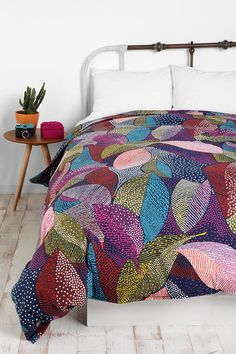 Dot Leaves Duvet Cover  #UrbanOutfitters