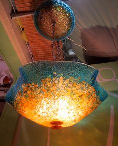 Blown Glass Chandelier - Custom Glass Lighting - Glass Lamp -  Hand Blown - Turquoise Amber