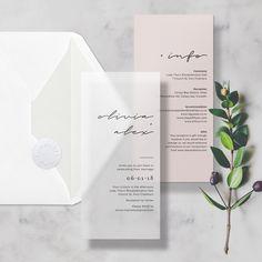 Nude + Vellum Minimal Translucent Wedding Invitation/Invite, includes Info Card, Envelope & Sticker  #vellum #wedding #translucent #transparent #clear #seethrough #savethedate #savethedates #invitation #invite #savethedates #minimal