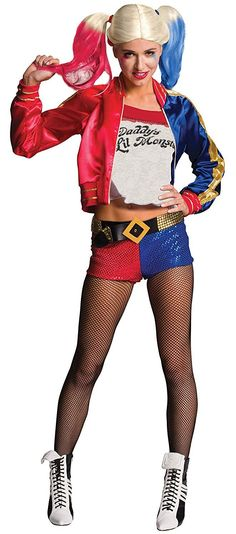 Party with Suicide Squad: Harley Quinn Adult Costume. Stunning ideas of Harley Quinn Costumes for Halloween at PartyBell. Harley Quinn Halloween Costume, Toddler Halloween Costumes, Halloween Kostüm, Halloween Outfits, Adult Costumes, Costumes For Women, Cosplay Costumes, Harley Quinn Disfraz, Villain Costumes