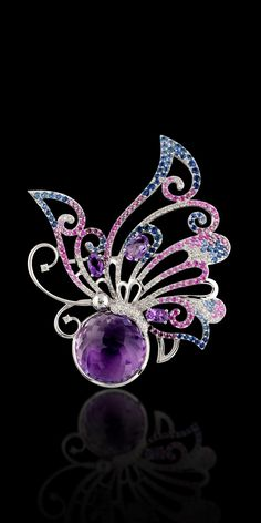 Master Exclusive Jewellery World of Insects 750 white gold, amethyst 8.33 ct, white and purple diamonds, blue and pink sapphires