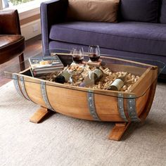 Purchase our Recycled Barrel Coffee Table Only at IWA Wine Accessories! Wine Barrel Coffee Table, Diy Coffee Table, Coffee Table Design, Wine Barrel Bar, Wine Table, Garden Coffee Table, Wine Barrel Furniture, Diy Pallet Furniture, Furniture Ideas