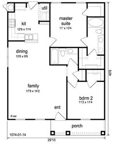 Craftsman Style House Plan - 2 Beds 2 Baths 1074 Sq/Ft Plan Floor Plan - Main Floor Plan -Widen living and kitchen, put laundry in small walk-in inside the master. The Plan, How To Plan, 2 Bedroom House Plans, Two Bedroom Tiny House, 30x40 House Plans, Small House Floor Plans, Low Cost House Plans, 2bhk House Plan, Barndominium Floor Plans