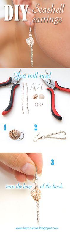Seashell dangle earrings DIY                  Sometimes simplicity is beauty