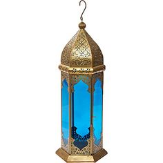 Blue & Copper-Tone Candle Lantern