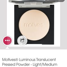 Motives pressed powder in Light/Medium What Makes Motives® Luminous Translucent Pressed Powder Unique? Translucent radiance for a heavenly whitening and lightening of the skin. Get that flawless, finished look with this skin conditioning, hydrating and light reflecting formula. Look younger with Motives Translucent Pressed Powder, designed to minimize the appearance of fine lines, pore size and perfect to wear over any foundation for a luminous veil. Makeup Face Powder