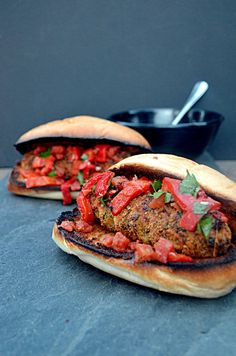 Breaded Italian Sausage Sandwiches with A'moigue and Roasted Red Pepper Relish