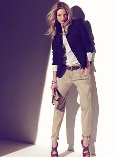 Always on the look-out for great casual wear. Beige Chinos, Beige Pants, Brown Chinos, Khaki Pants, Looks Chic, Looks Style, Fashion Mode, Work Fashion, Womens Fashion