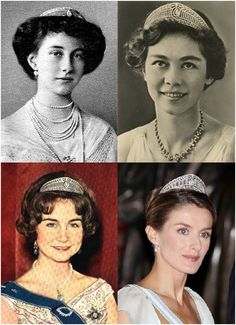 The four main wearers of the Prussian tiara, Victoria Louise, Feredrika, Sofia and Letizia Royal Crowns, Royal Tiaras, Crown Royal, Tiaras And Crowns, Greek Royalty, Spanish Royalty, Ernst August, Estilo Real, Spanish Royal Family