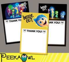 Instant download Disney Inside Out 2015 Movie Blank Thank You Cards, Disney Inside out Thank You Cards!!! by PeekaOwl on Etsy