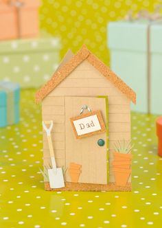 Make your dad a cute little garden shed card for Father's Day with free templates from Papercraft Inspirations 126.