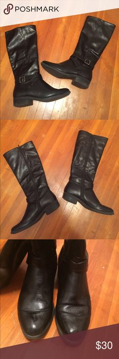 Black Boots Black boots that come up a little short of the knee. They zip up the inside and have a very small heel to them. Gently used and in great condition! croft & barrow Shoes