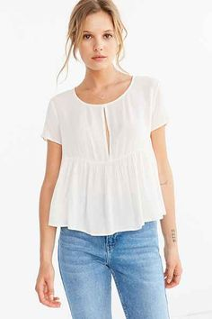 Urban Outfitters Kimchi Blue Melody Babydoll Tee Color: ivory Size: small Price: $29
