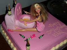 Drunken Barbie Cake. Vikki's 21st Birthday 4/1/14. She loved it so much, that she wouldn't cut the cake or light the candles.