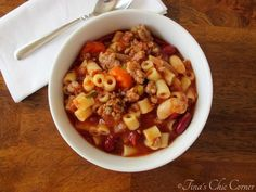 Pasta Fagioli Soup Olive Garden Cups Ideas For 2019 Pasta Fagioli Soup Recipe, Pasta Soup, Pasta Dishes, Pasta Noodles, Thai Pasta, Dinner Dishes, Italian Recipes, Crockpot Recipes, Soup Recipes