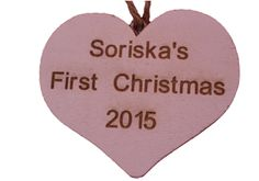 Personalised  DECORATION  Wooden White Heart  - also suitable for use as GIFT TAG.