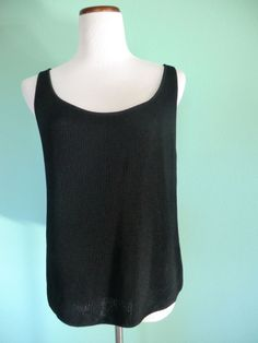 NEW  LINDA ALLARD ELLEN TRACY BLACK KNIT SLEEVELESS TOP MADE IN USA SIZE X #EllenTracy #KnitTop
