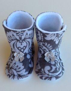 Baby Girl Boots Toddler Infan Fleece Flannel Warm by Sunjunki, $25.00