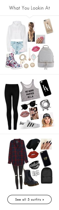 """""""What You Lookin At"""" by avarosem ❤ liked on Polyvore featuring Alexander Wang, Timberland, River Island, MICHAEL Michael Kors, Casetify, DesignSix, Thomas Sabo, Kate Spade, Lime Crime and Wolford"""